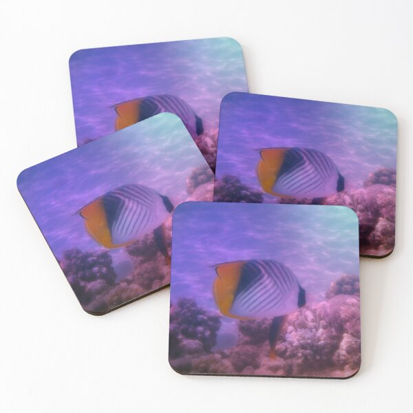 Threadfin Butterflyfish Colorfully Coasters (Set of 4)