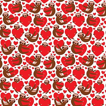 pattern Three-toed sloth holding red heart, on white background. Valentine's Day Card. Funny Kawaii animal.  by EkaterinaP