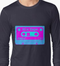 Psychedelic Mix Tape - Cyan and Magenta Long Sleeve T-Shirt