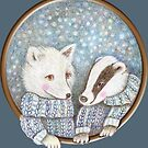 fox and badger love playing in the snow by trudette