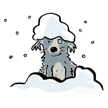 dog in the snow by greendeer