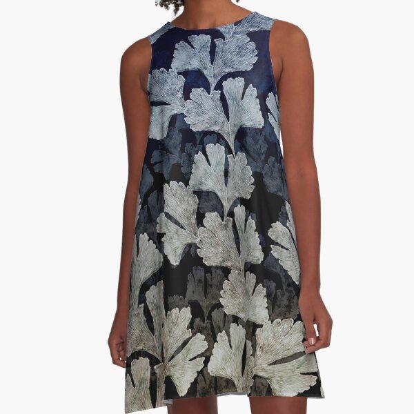 Ginko Leaf  Multi-toned Print A-Line Dress