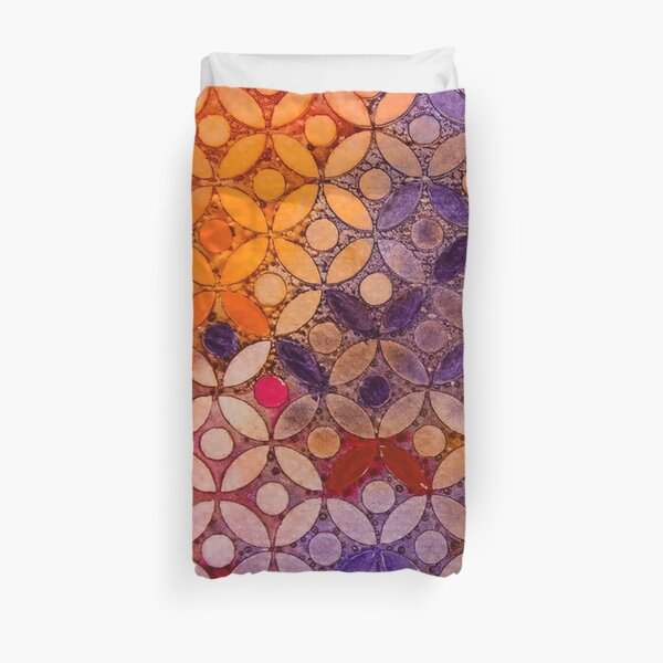 a piece of orange pink and purple  Duvet Cover