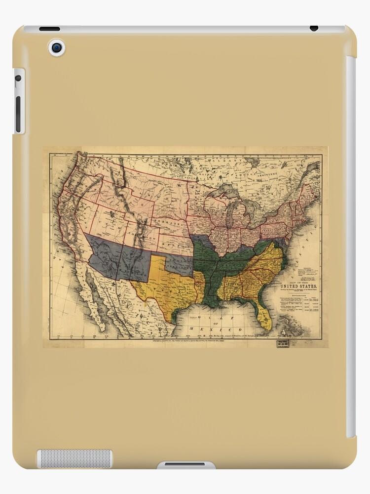 Civil War Era Map Of The United States January 1864 Ipad Cases - Us-map-civil-war-era