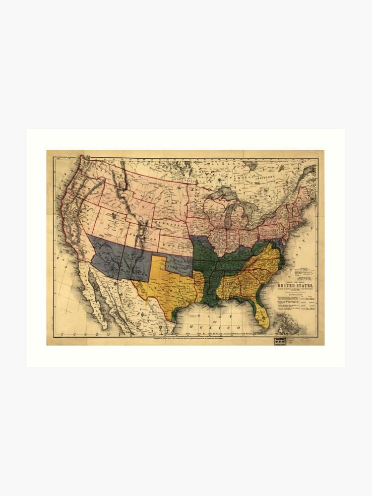 Civil War Era Map Of The United States January 1864 Art Print By - Us-map-civil-war-era