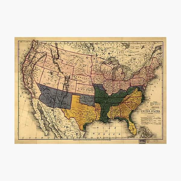 Civil War Era Map of the United States (January 1864) Photographic Print