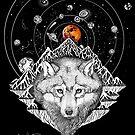 «La sangre roja lobo luna eclipse 2019» de Ruta Dumalakaite
