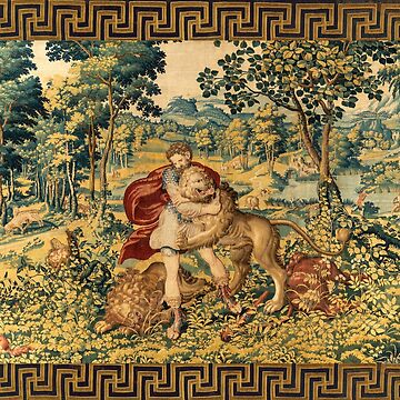 HERCULES COMBATS WITH NEMEAN LION  AND FOX IN WOODLAND Antique Tapestry by BulganLumini