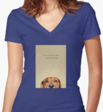 Funny and Hungry Rhodesian Ridgeback Women's Fitted V-Neck T-Shirt