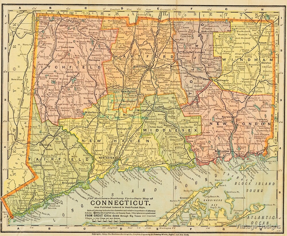Vintage map of Connecticut\