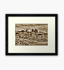 THREE AND A HALF BUSES IN TRITONE Framed Print