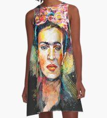 Frida Kahlo (dunkle Ausgabe) A-Linien Kleid