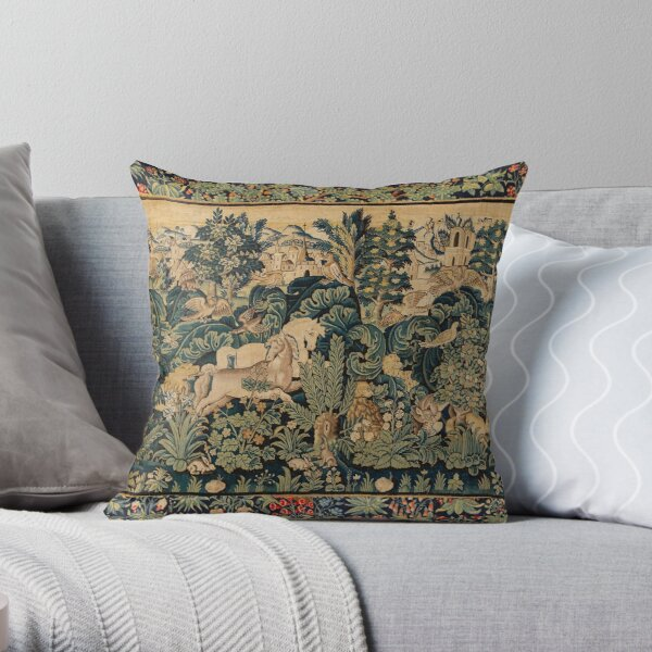 FANTASTIC ANIMALS AND HORSES IN WOODLAND Blue Green Ivory Antique French Tapestry Throw Pillow