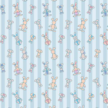 Rabbit family seamless vector pattern  by limengd