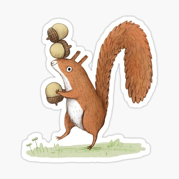 Squirrel With Acorns Sticker