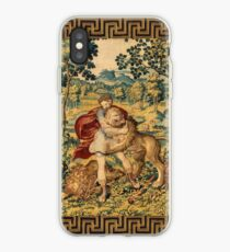 HERCULES COMBATS WITH NEMEAN LION  AND FOX IN WOODLAND Antique Tapestry iPhone Case