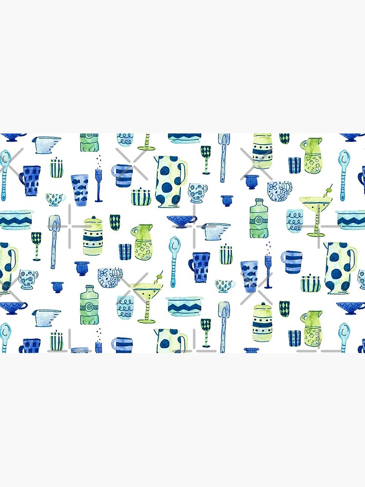 Hand Painted Watercolor Kitchen Pattern - Midcentury Mocktails by annieparsons