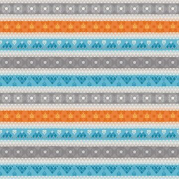 Tribal Pattern - Cerulean Tangerine by Skullz23
