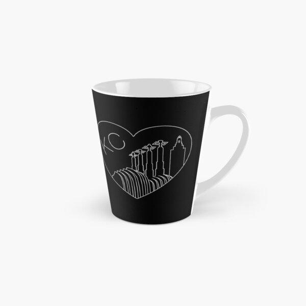 Kansas City - Minimalist Line Art Skyline Heart White Tall Mug