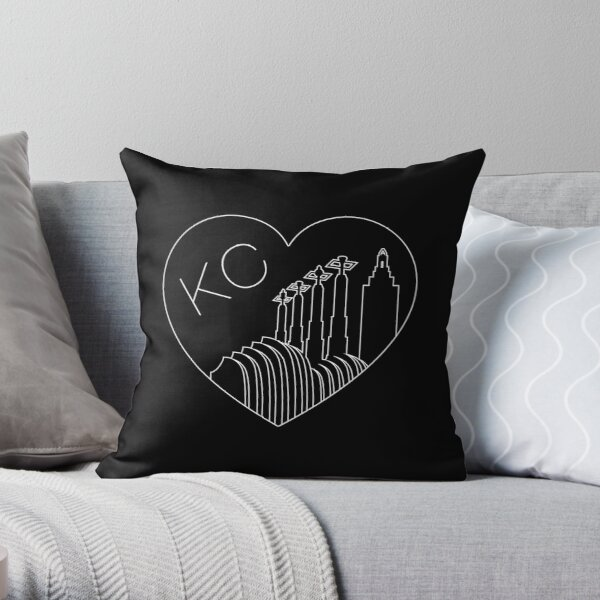 Kansas City - Minimalist Line Art Skyline Heart White Throw Pillow