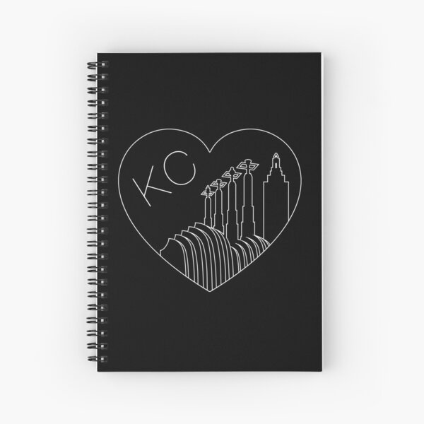 Kansas City - Minimalist Line Art Skyline Heart White Spiral Notebook