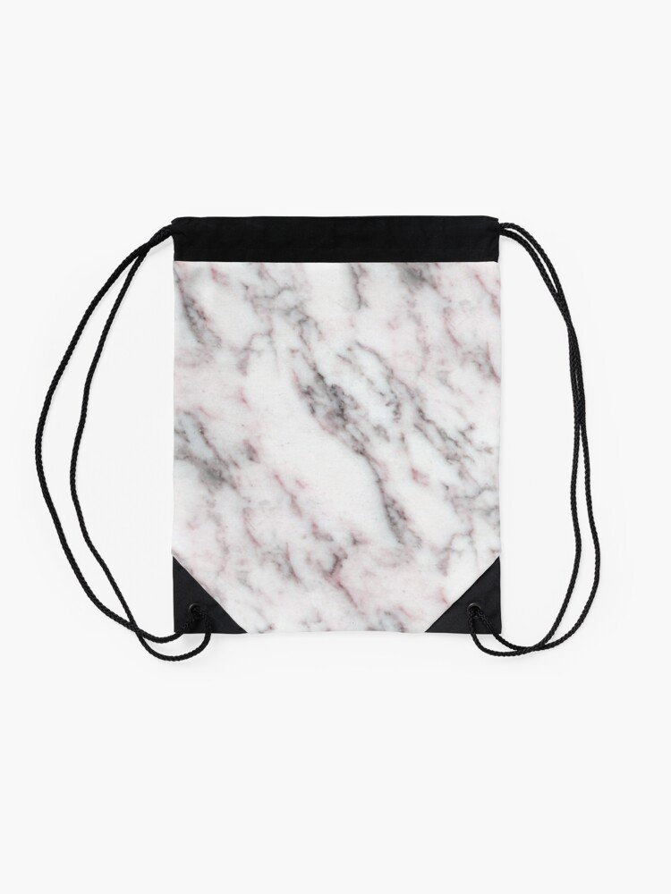 Alternate view of Soft Pink and Charcoal Veins on Whipped Cream Marble Drawstring Bag