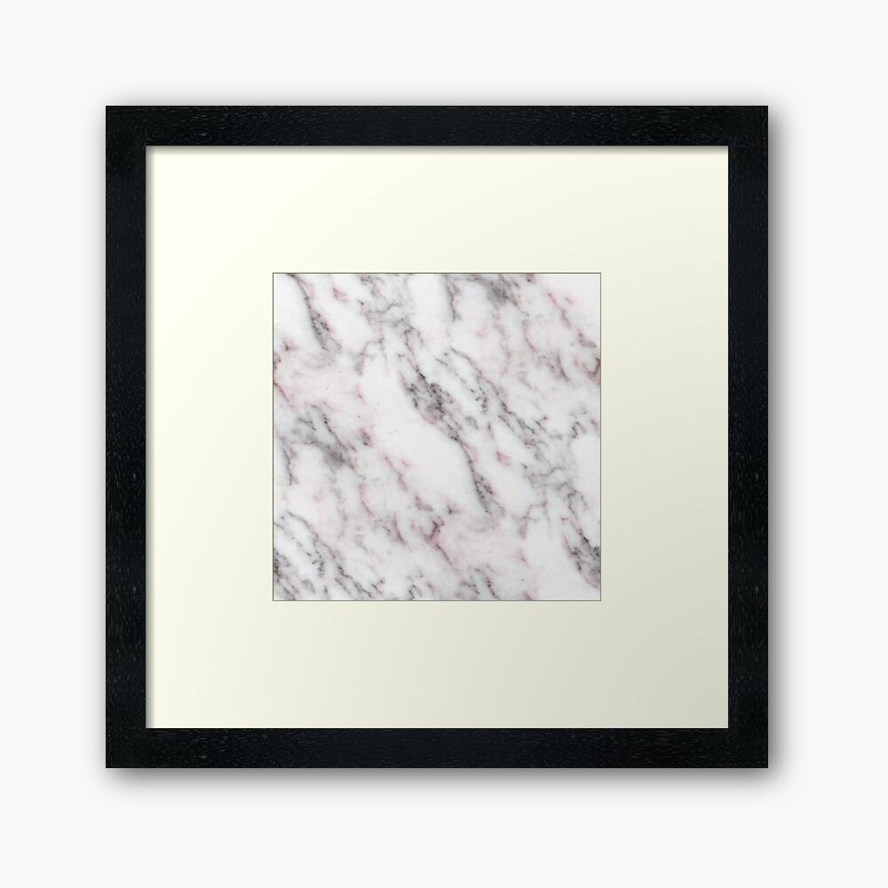 Soft Pink und Charcoal Venen auf Schlagsahne Marmor Gerahmter Kunstdruck