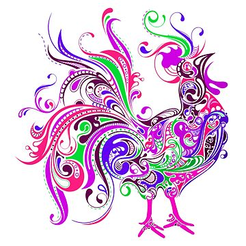 ROOSTER, Psychedelic by TOMSREDBUBBLE