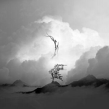 Faith is a Black and White Square Bird Artwork by stohitro