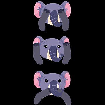 Elephant Do not See Hear Speak by Wuselsusel