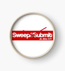Jiu jitsu Sweep or Submit T-shirt Clock
