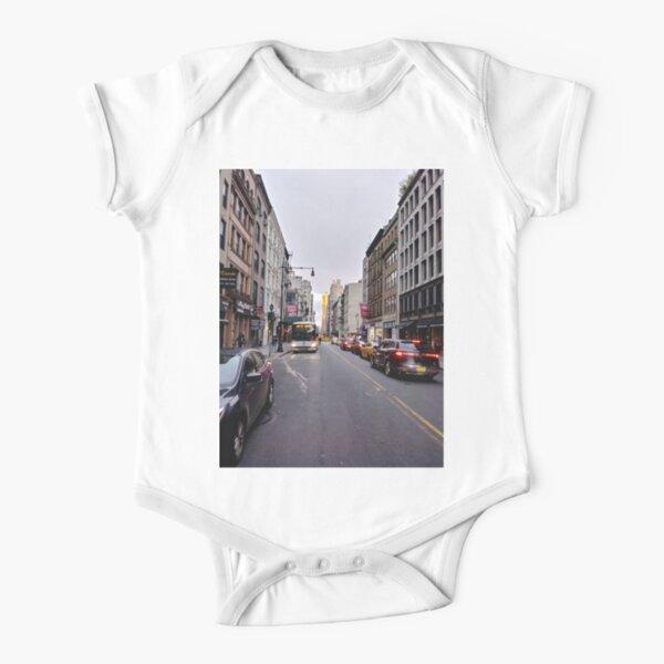 #NewYorkCity New York City #Neighbourhood, #Street, #Road, Lane, Urban area, #City, Town, Downtown, Human settlement Short Sleeve Baby One-Piece