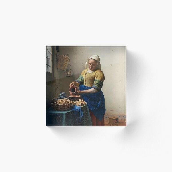 Het melkmeisje (The Milkmaid) by Johannes Vermeer (c. 1660) Acrylic Block
