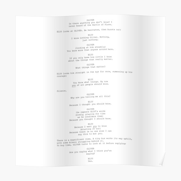 call me by your name movie script Poster