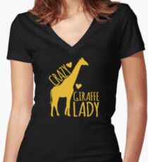 CRAZY Giraffe Lady  Women's Fitted V-Neck T-Shirt