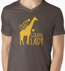 CRAZY Giraffe Lady  Men's V-Neck T-Shirt