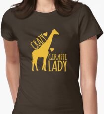 CRAZY Giraffe Lady  Womens Fitted T-Shirt
