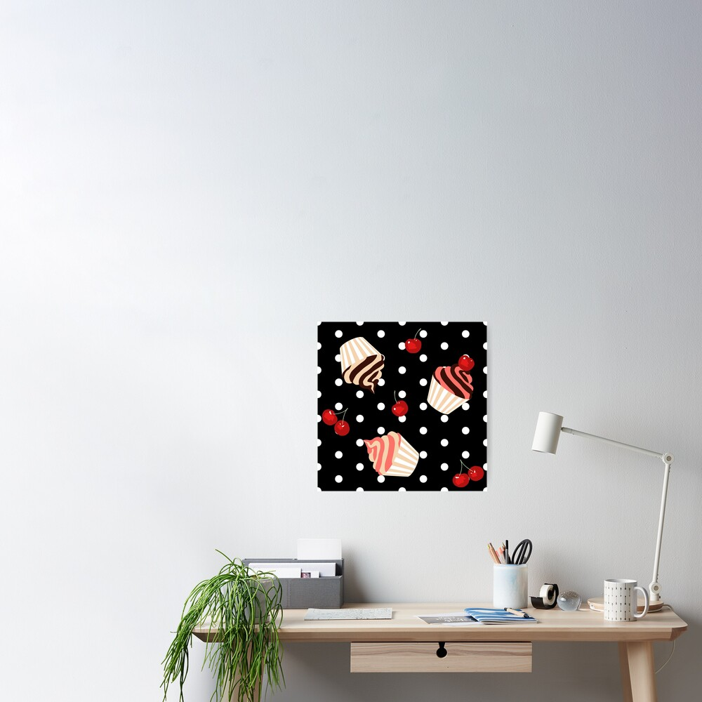 Rockabilly Cherry Cupcakes Poster