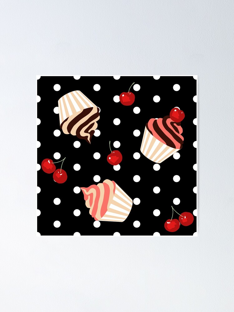 Alternate view of Rockabilly Cherry Cupcakes Poster