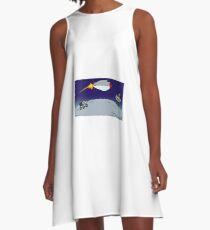 Rocket orbiting Mars A-Line Dress