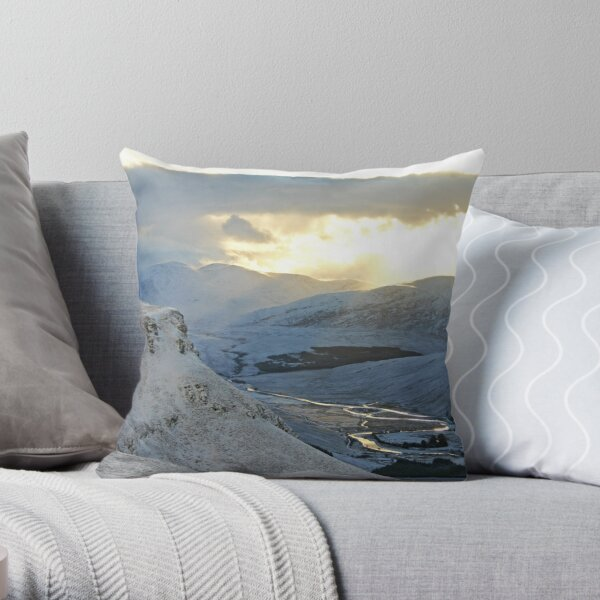 Winter Afternoon, Strath More, Sutherland Throw Pillow