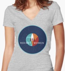 Rocket Women - Space Logo Women's Fitted V-Neck T-Shirt
