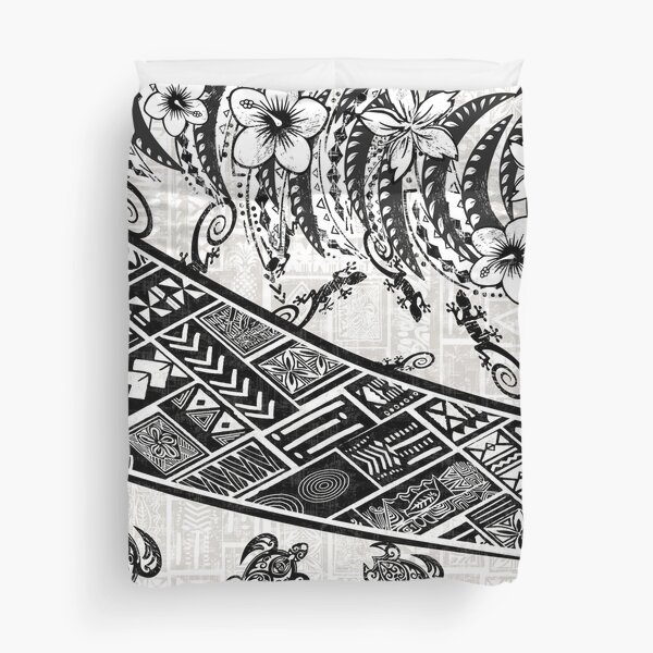 Black And White Polynesian Tribal Distressed Duvet Cover