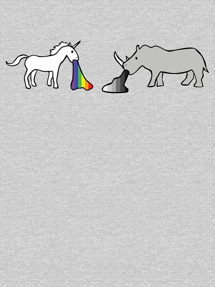 Unicorns Vomit Rainbows, Rhinos Vomit Greyscale by jezkemp