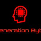 Bright red Generation Byte text and image logo by GenerationByte
