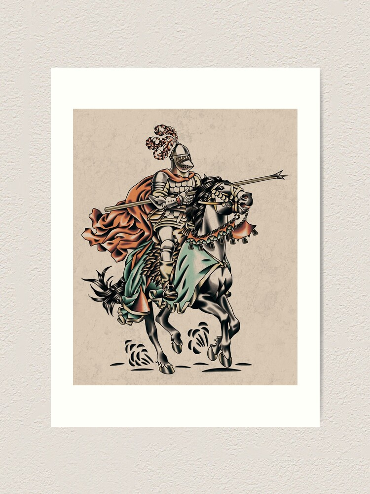 Knight Tattoo Flash Stile Art Print By Laces Redbubble