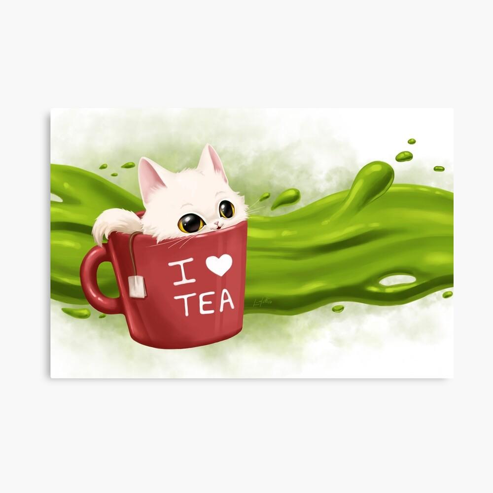 Impression sur toile «Tea cat»