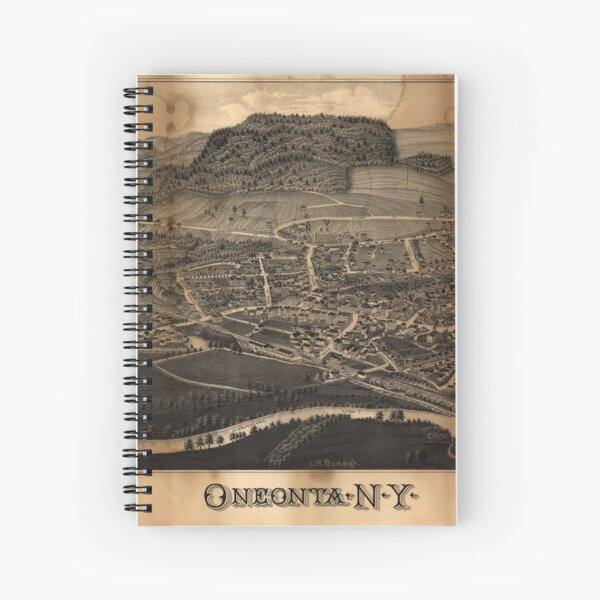 Bird's Eye View Map of Oneonta New York (1884) Spiral Notebook