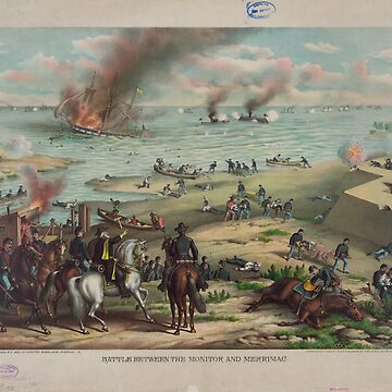 Battle between the Monitor and Merrimack (March 9th 1862) by allhistory