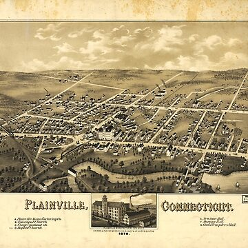 Perspective Map of Plainville Connecticut (1878) by allhistory
